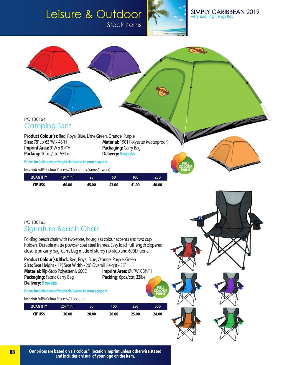 Leisure   Outdoor Stock Items  PCI180164  Camping Tent Product Colour s   Red, Royal Blue, Lime Green, Orange, Purple Size...
