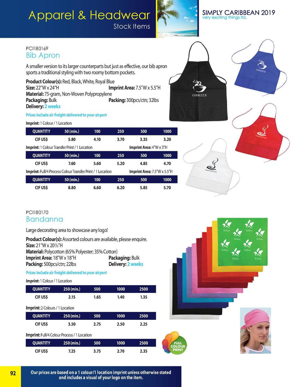 Apparel   Headwear Stock Items PCI180169  Bib Apron A smaller version to its larger counterparts but just as effective, ou...