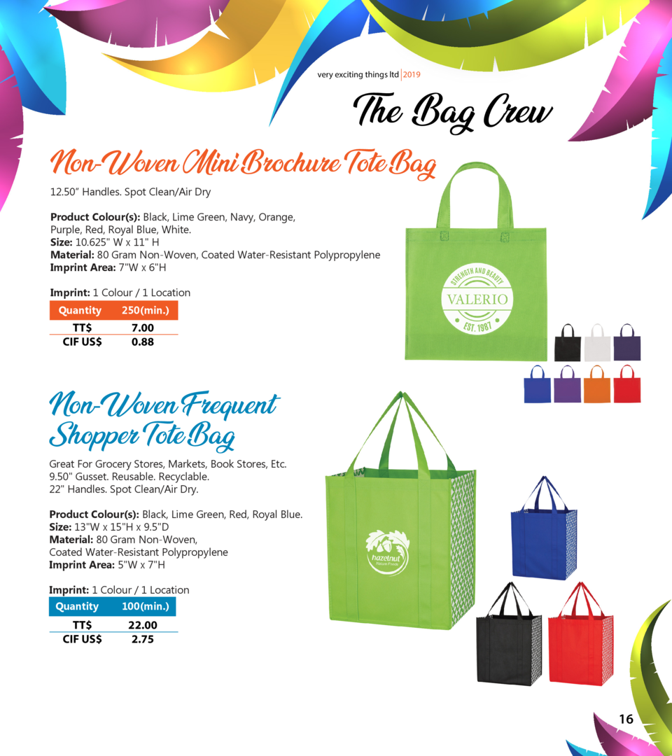 very exciting things ltd 2019  The Bag Crew  Non-Woven Mini Brochure Tote Bag 12.50    Handles. Spot Clean Air Dry  Produc...