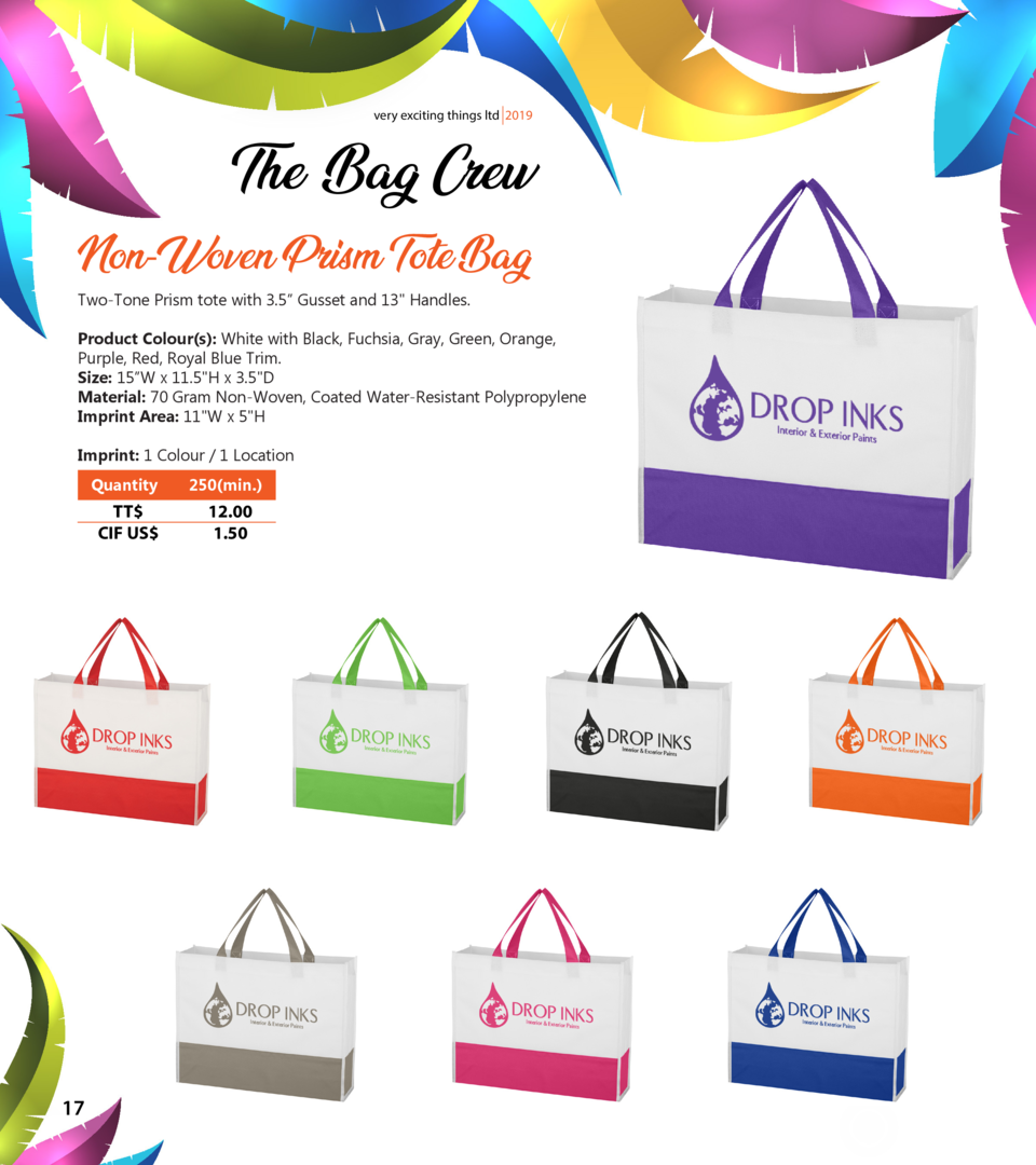 very exciting things ltd 2019  The Bag Crew Non-Woven Prism Tote Bag Two-Tone Prism tote with 3.5    Gusset and 13  Handle...