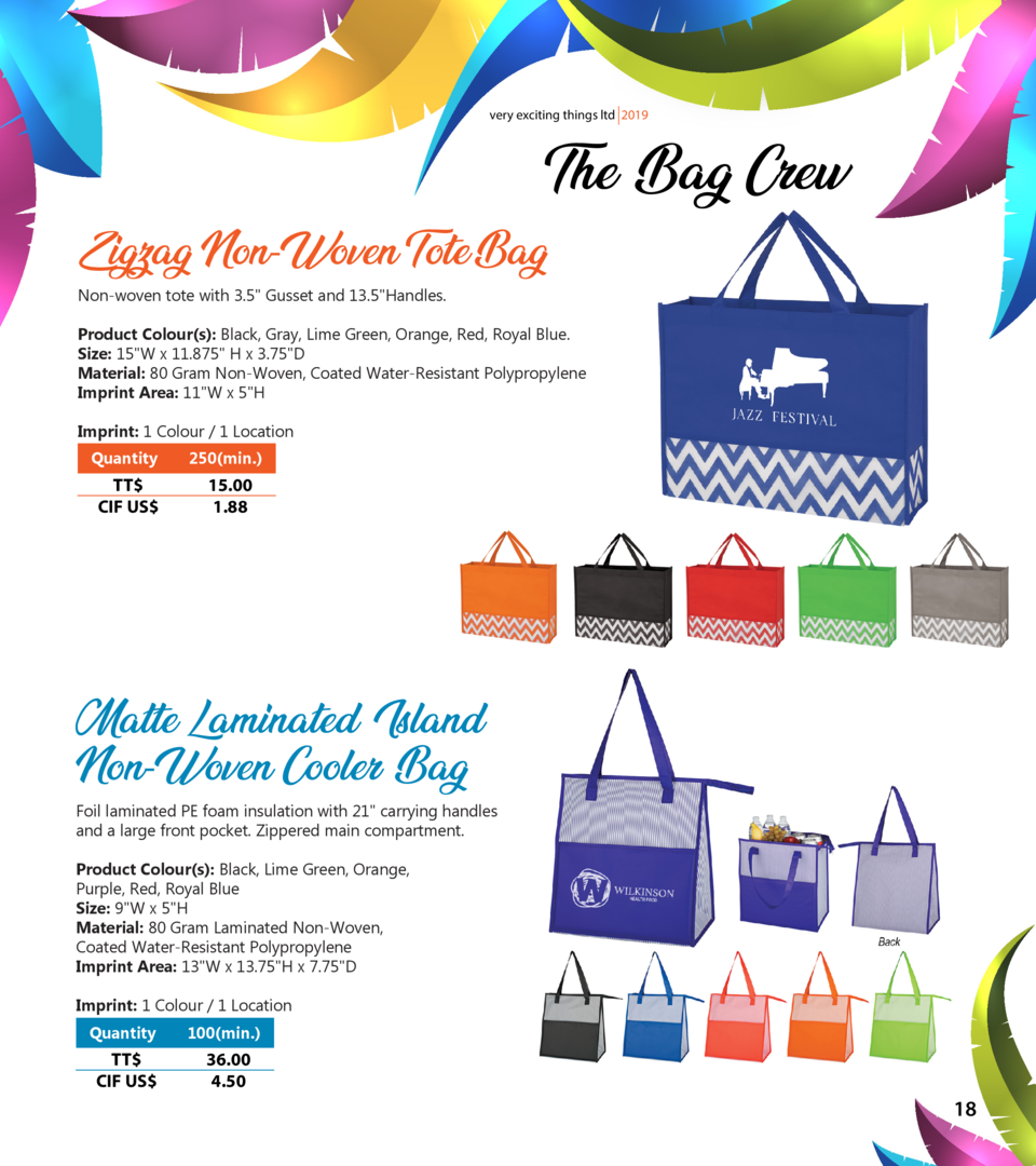 very exciting things ltd 2019  The Bag Crew  Zigzag Non-Woven Tote Bag Non-woven tote with 3.5  Gusset and 13.5 Handles.  ...