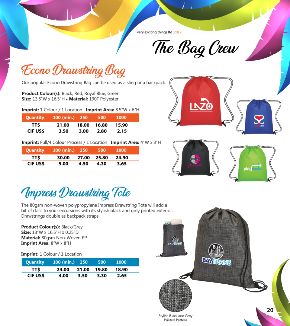 very exciting things ltd 2019  Econo Drawstring Bag  The Bag Crew  Our popular Econo Drawstring Bag can be used as a sling...