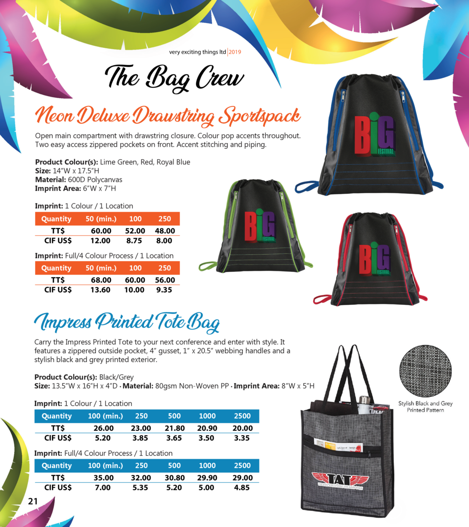 very exciting things ltd 2019  The Bag Crew Neon Deluxe Drawstring Sportspack  Open main compartment with drawstring closu...