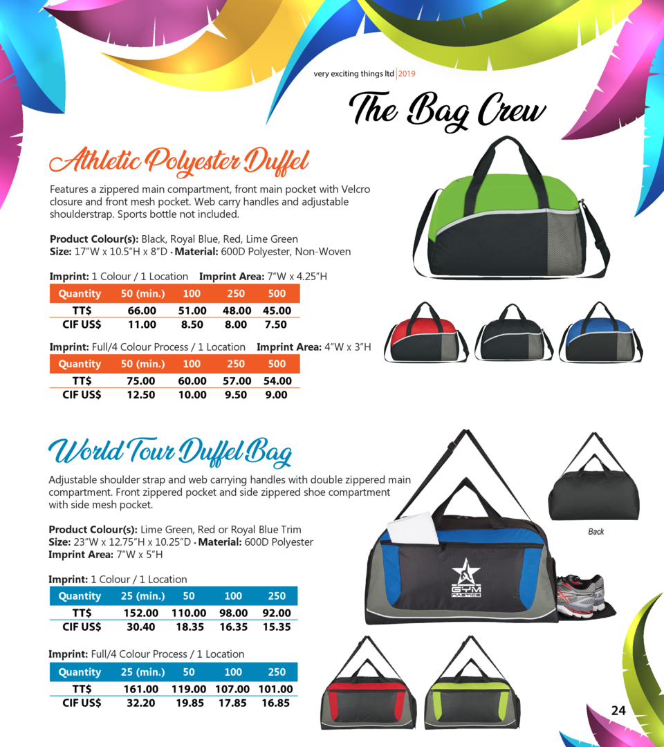 very exciting things ltd 2019  Athletic Polyester Duffel  The Bag Crew  Features a zippered main compartment, front main p...