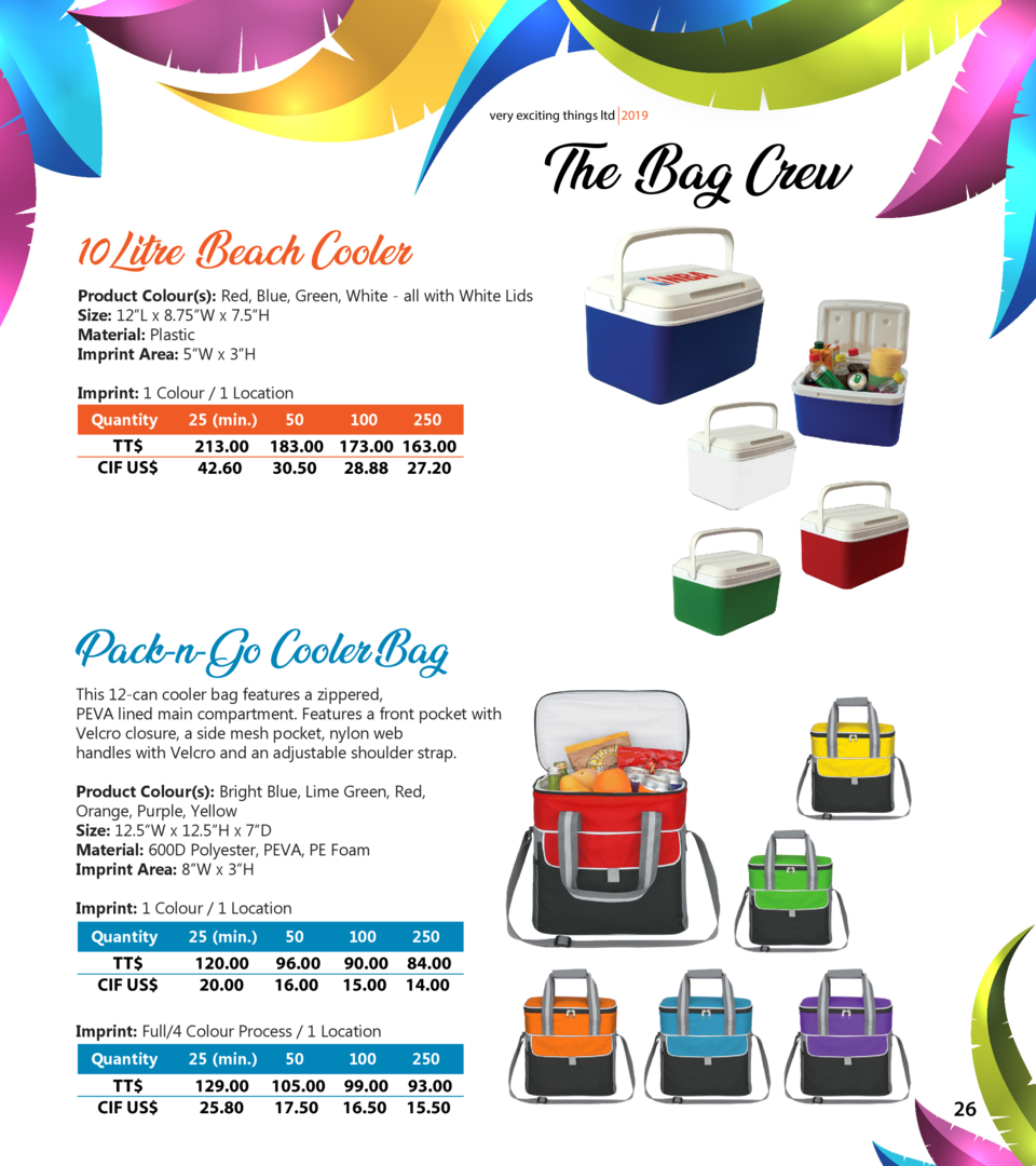 very exciting things ltd 2019  The Bag Crew  10Litre Beach Cooler  Product Colour s   Red, Blue, Green, White - all with W...