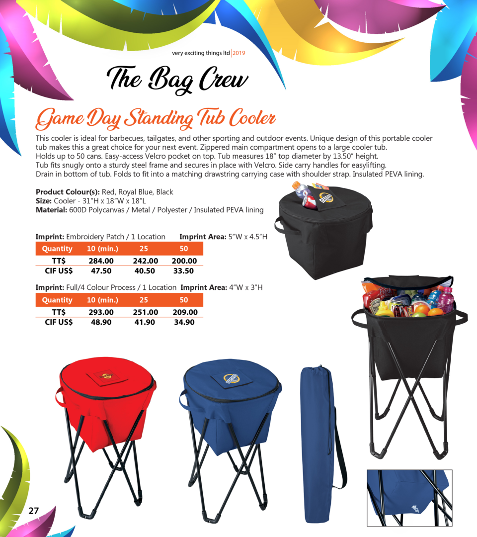 very exciting things ltd 2019  The Bag Crew Game Day Standing Tub Cooler  This cooler is ideal for barbecues, tailgates, a...