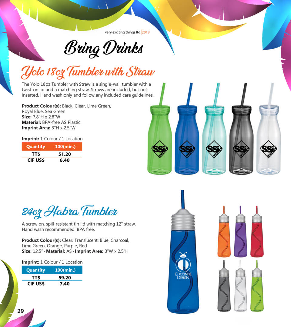 very exciting things ltd 2019  Bring Drinks Yolo 18oz Tumbler with Straw The Yolo 18oz Tumbler with Straw is a single-wall...