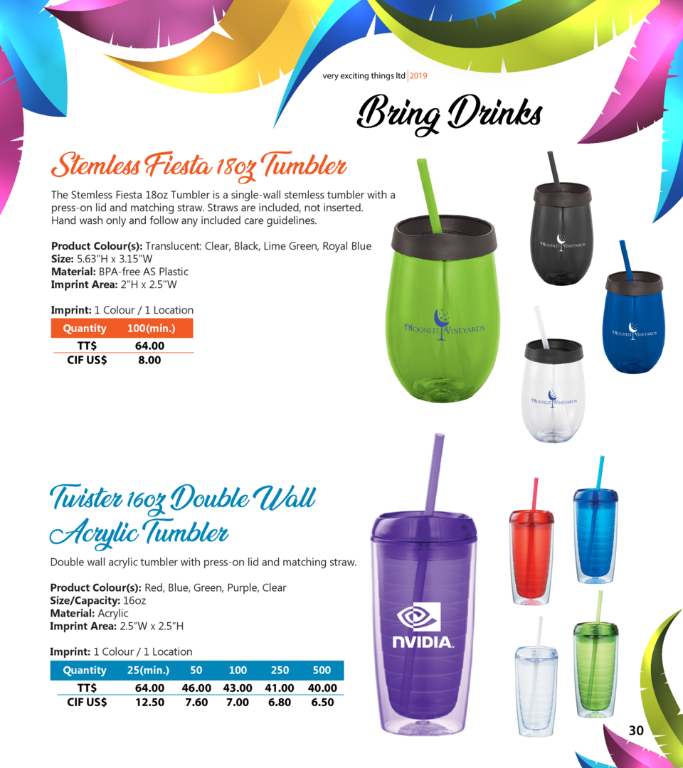 very exciting things ltd 2019  Stemless Fiesta 18oz Tumbler  Bring Drinks  The Stemless Fiesta 18oz Tumbler is a single-wa...