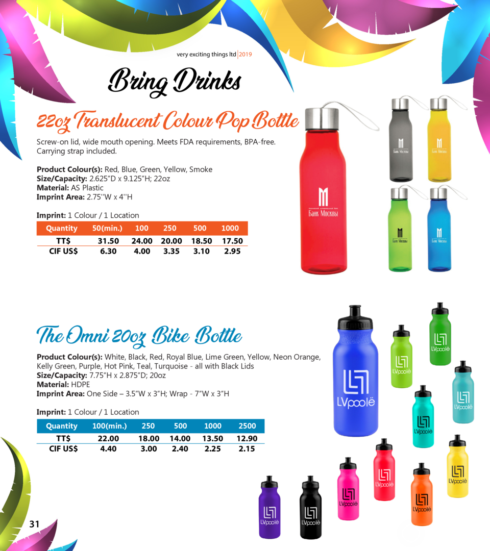 very exciting things ltd 2019  Bring Drinks 22oz Translucent Colour Pop Bottle Screw-on lid, wide mouth opening. Meets FDA...