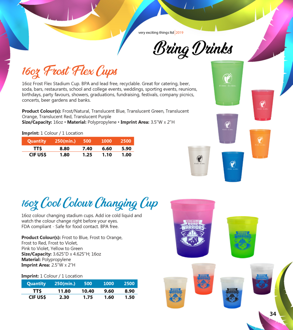 very exciting things ltd 2019  Bring Drinks  16oz Frost Flex Cups  16oz Frost Flex Stadium Cup. BPA and lead free, recycla...