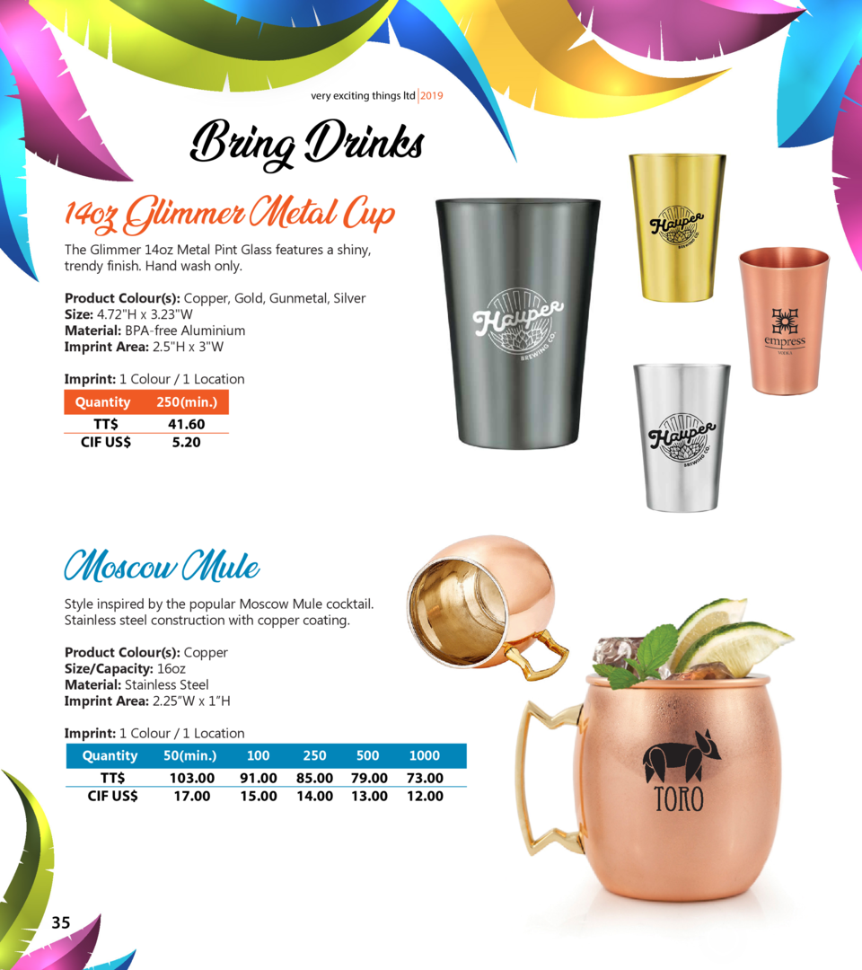 very exciting things ltd 2019  Bring Drinks 14oz Glimmer Metal Cup The Glimmer 14oz Metal Pint Glass features a shiny, tre...