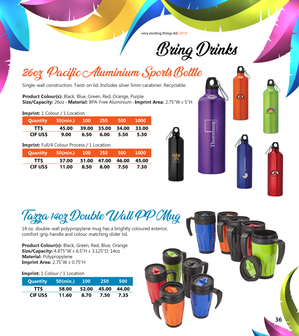 very exciting things ltd 2019  Bring Drinks  26oz Pacific Aluminium Sports Bottle Single-wall construction. Twist-on lid. ...