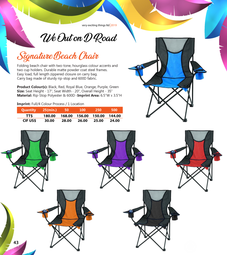 very exciting things ltd 2019  We Out on D Road Signature Beach Chair  Folding beach chair with two-tone, hourglass colour...