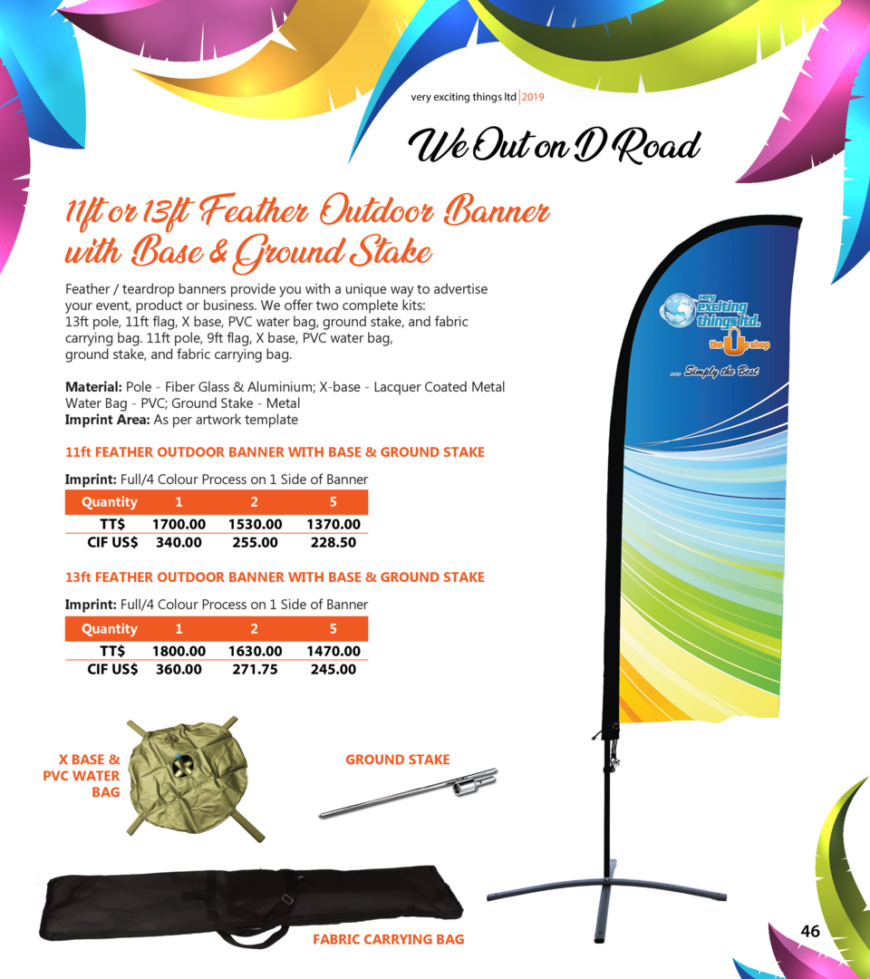 very exciting things ltd 2019  We Out on D Road  11ft or 13ft Feather Outdoor Banner with Base   Ground Stake Feather   te...
