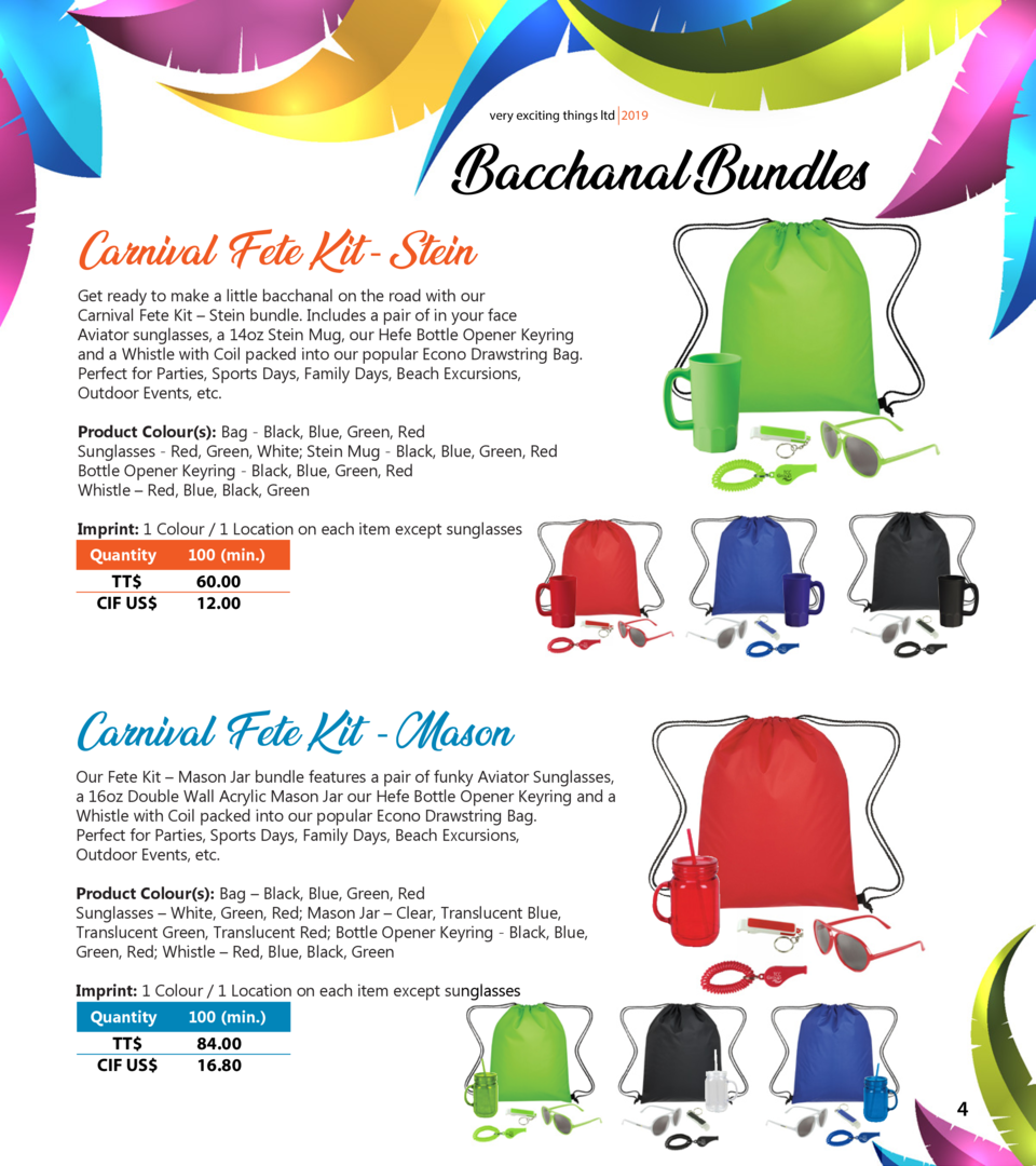 very exciting things ltd 2019  Bacchanal Bundles  Carnival Fete Kit - Stein  Get ready to make a little bacchanal on the r...