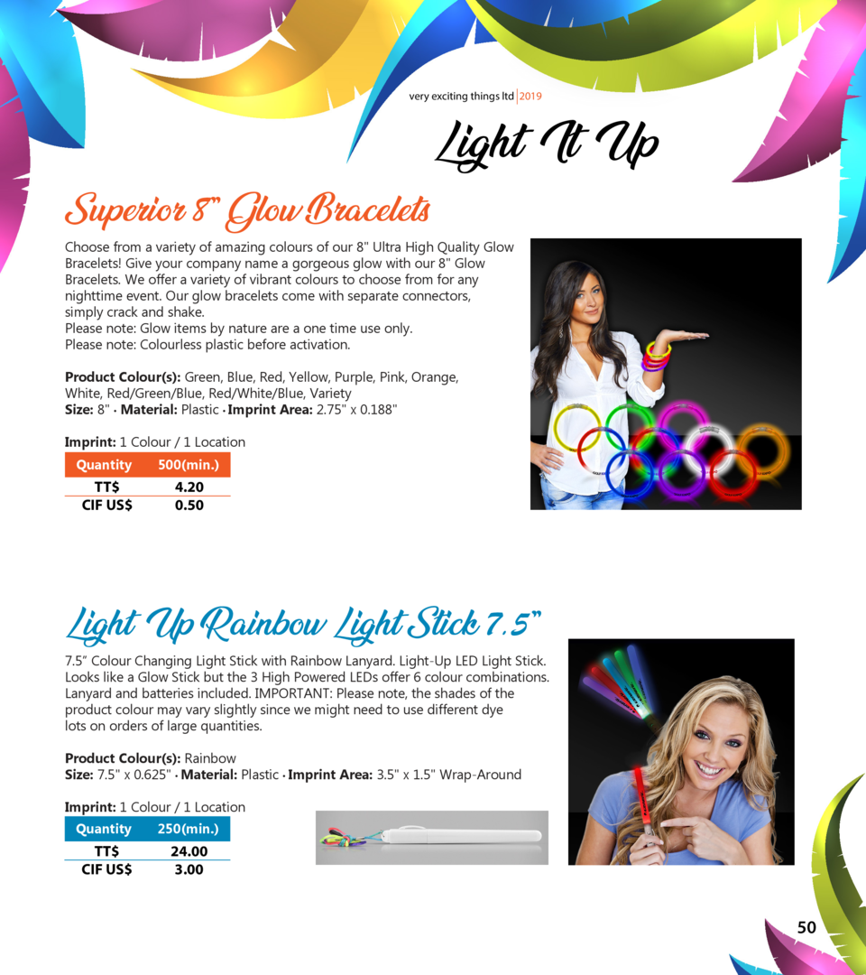 very exciting things ltd 2019  Superior 8    Glow Bracelets  Light It Up  Choose from a variety of amazing colours of our ...