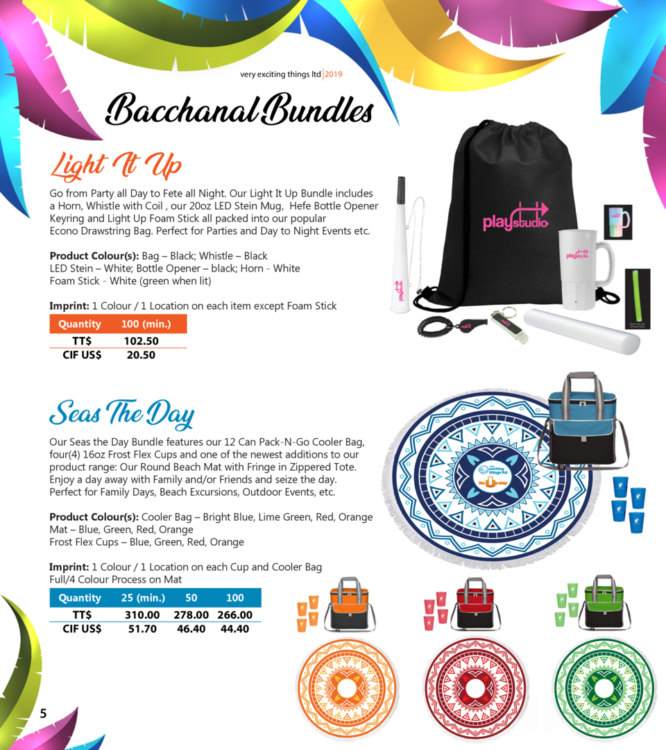 very exciting things ltd 2019  Bacchanal Bundles Light It Up  Go from Party all Day to Fete all Night. Our Light It Up Bun...